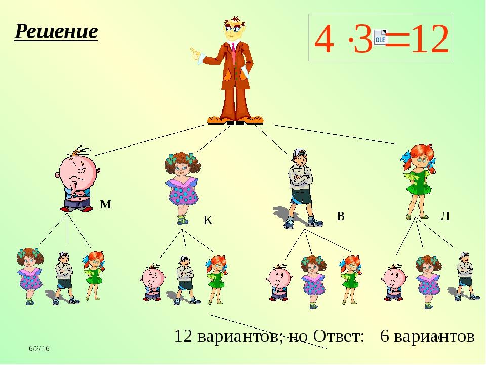 6 12 вариантов; но Ответ: 6 вариантов Решение М В К Л
