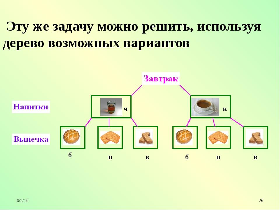 ч к б б п п в в Эту же задачу можно решить, используя дерево возможных вариа...