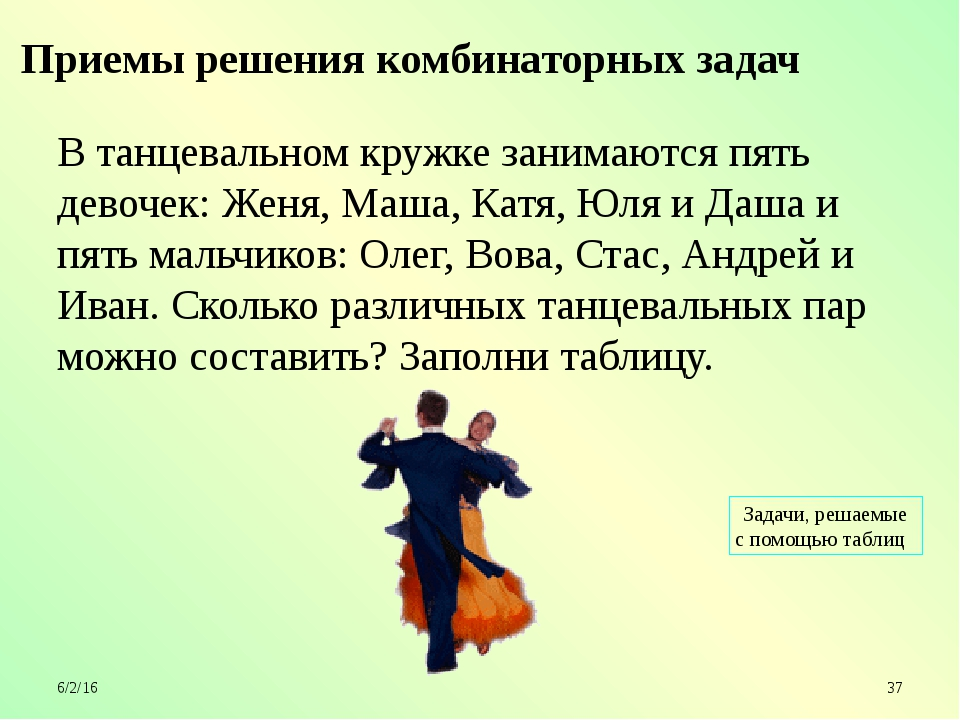 В танцевальном кружке занимаются пять девочек: Женя, Маша, Катя, Юля и Даша...