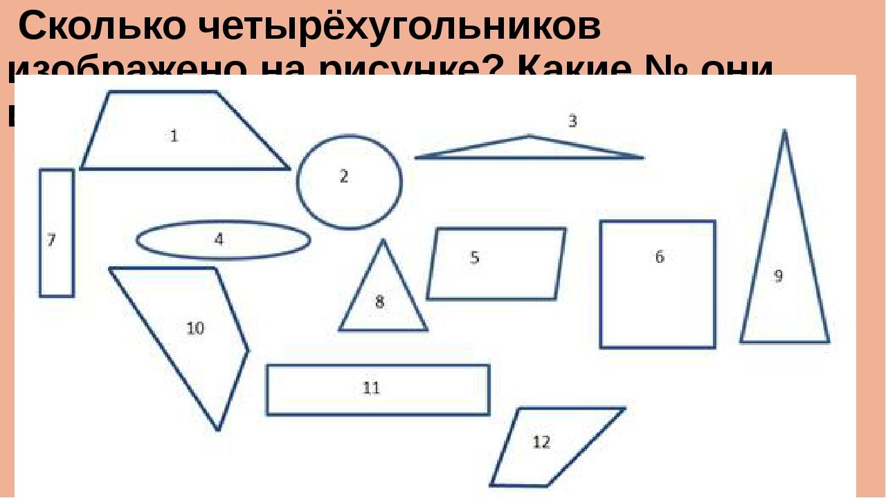 Сколько четырёхугольников изображено на рисунке? Какие № они имеют?