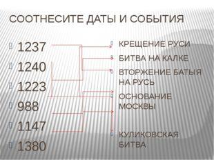СООТНЕСИТЕ ДАТЫ И СОБЫТИЯ 1237 1240 1223 988 1147 1380 КРЕЩЕНИЕ РУСИ БИТВА НА