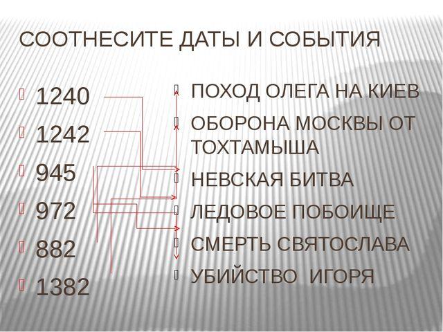 СООТНЕСИТЕ ДАТЫ И СОБЫТИЯ 1240 1242 945 972 882 1382 ПОХОД ОЛЕГА НА КИЕВ ОБОР...