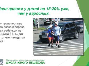 Поле зрения у детей на 15-20% уже, чем у взрослых. Поэтому транспортные средс