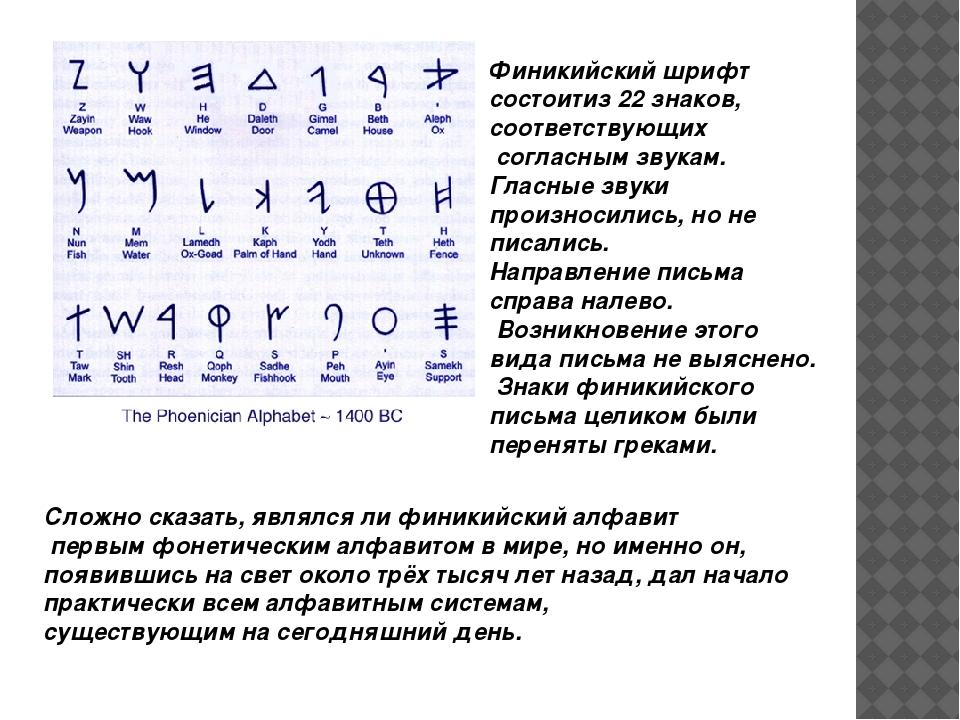 Финикийский шрифт состоитиз 22 знаков, соответствующих согласным звукам. Гл...