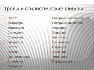 Тропы и стилистические фигуры Эпитет Метафора Метонимия Синекдоха Сравнение Г