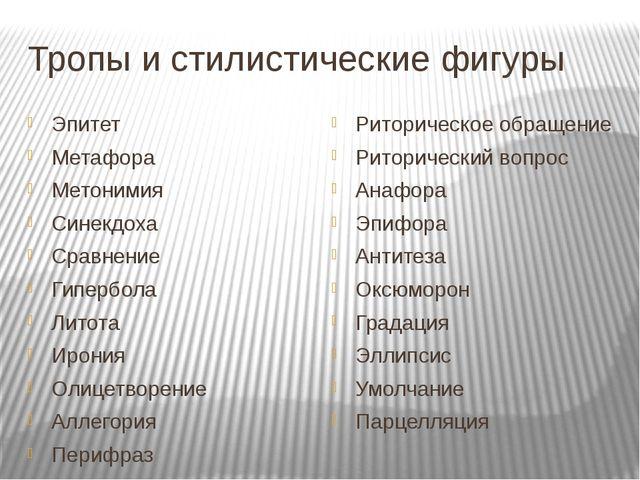 Тропы и стилистические фигуры Эпитет Метафора Метонимия Синекдоха Сравнение Г...