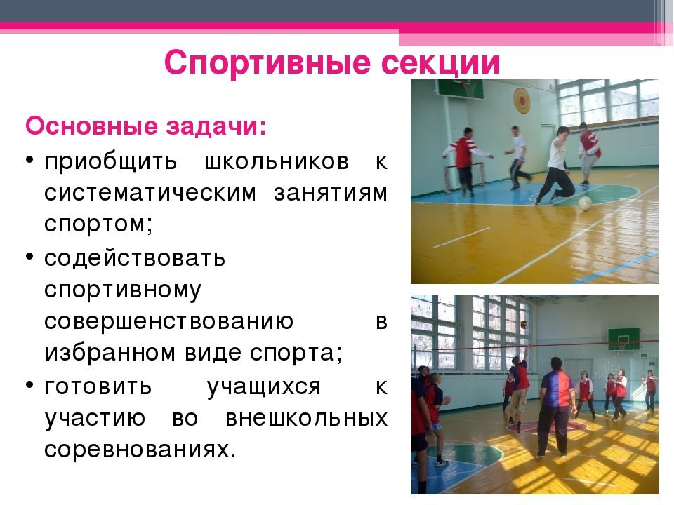 Спортивные секции Основные задачи: приобщить школьников к систематическим зан...