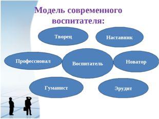 Модель современного воспитателя: Воспитатель Творец Наставник Профессионал Но