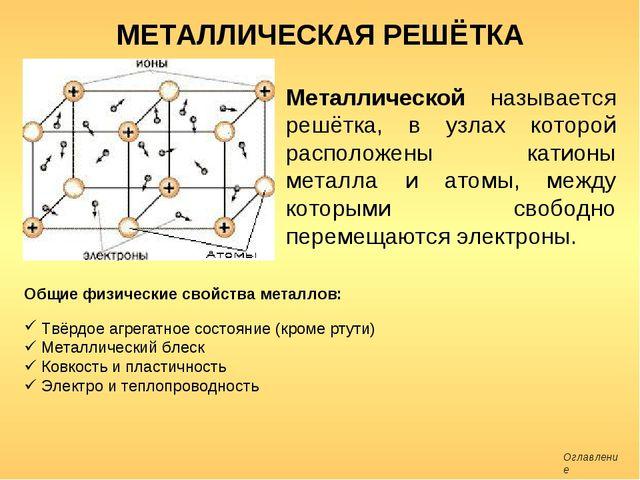 МЕТАЛЛИЧЕСКАЯ РЕШЁТКА Металлической называется решётка, в узлах которой распо...