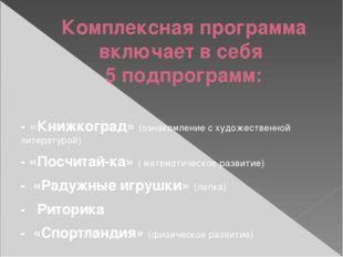 Комплексная программа включает в себя 5 подпрограмм: - «Книжкоград» (ознакомл