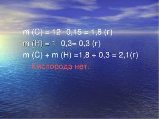 m (C) = 12 . 0,15 = 1,8 (г) m (H) = 1 . 0,3= 0,3 (г) m (C) + m (H) =1,8 + 0,