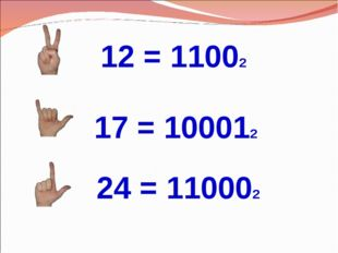 24 = 110002 17 = 100012 12 = 11002