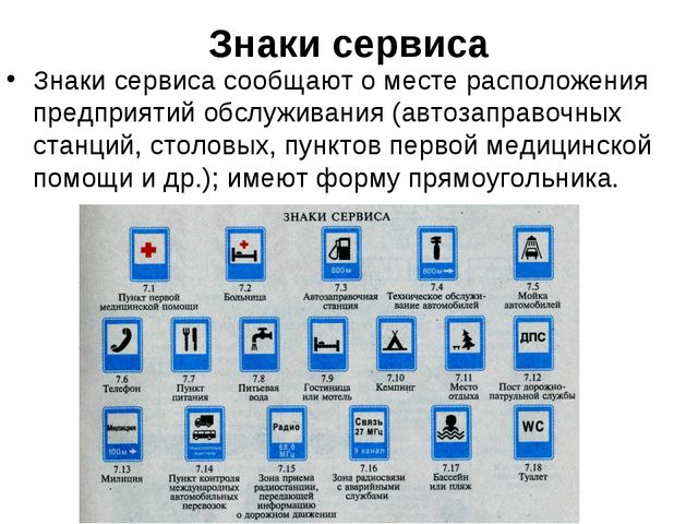 Знаки сервиса Знаки сервиса сообщают о месте расположения предприятий обслужи...