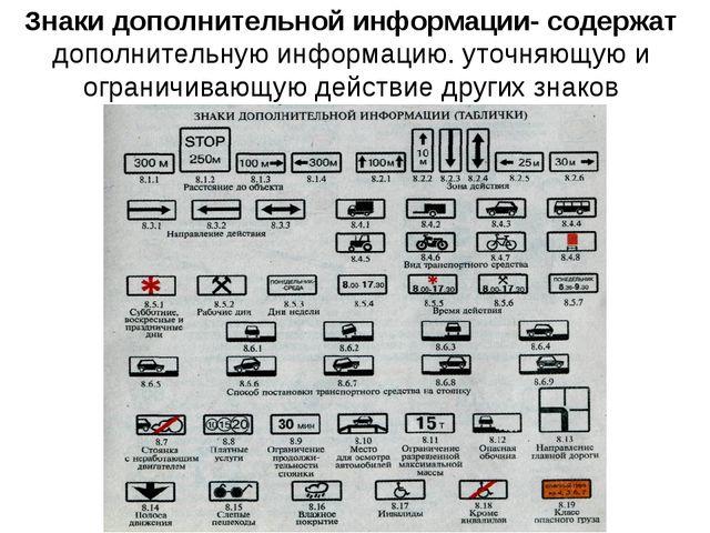 Знаки дополнительной информации- содержат дополнительную информацию. уточняющ...