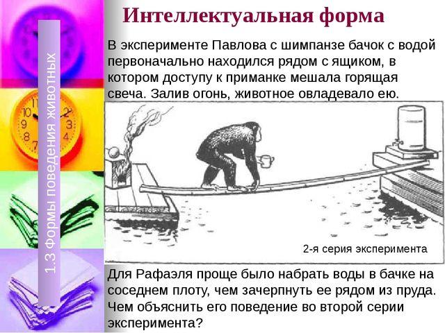Интеллектуальная форма 1.3 Формы поведения животных 1.3 Формы поведения живот...