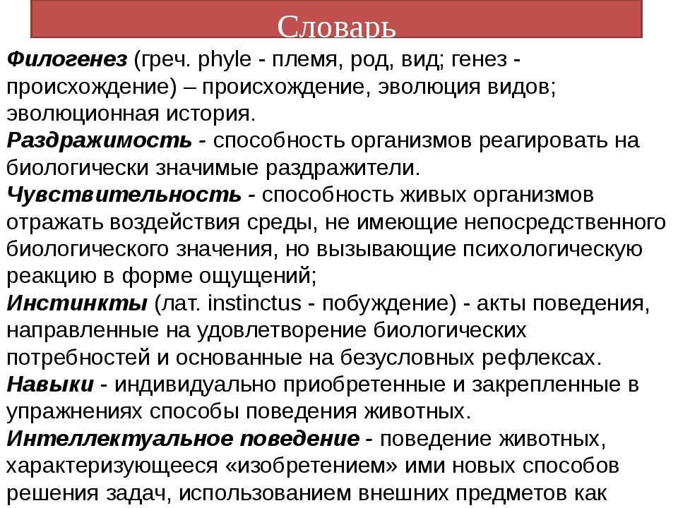 Словарь Филогенез (греч. phyle - племя, род, вид; генез - происхождение) – пр...