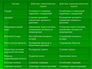 ОрганыДействие симпатических нервовДействие парасимпатических нервов Сердц