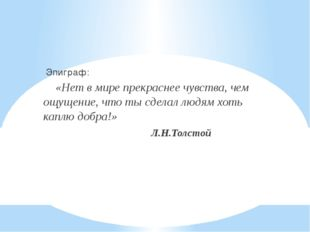 Эпиграф: «Нет в мире прекраснее чувства, чем ощущение, что ты сделал людям х