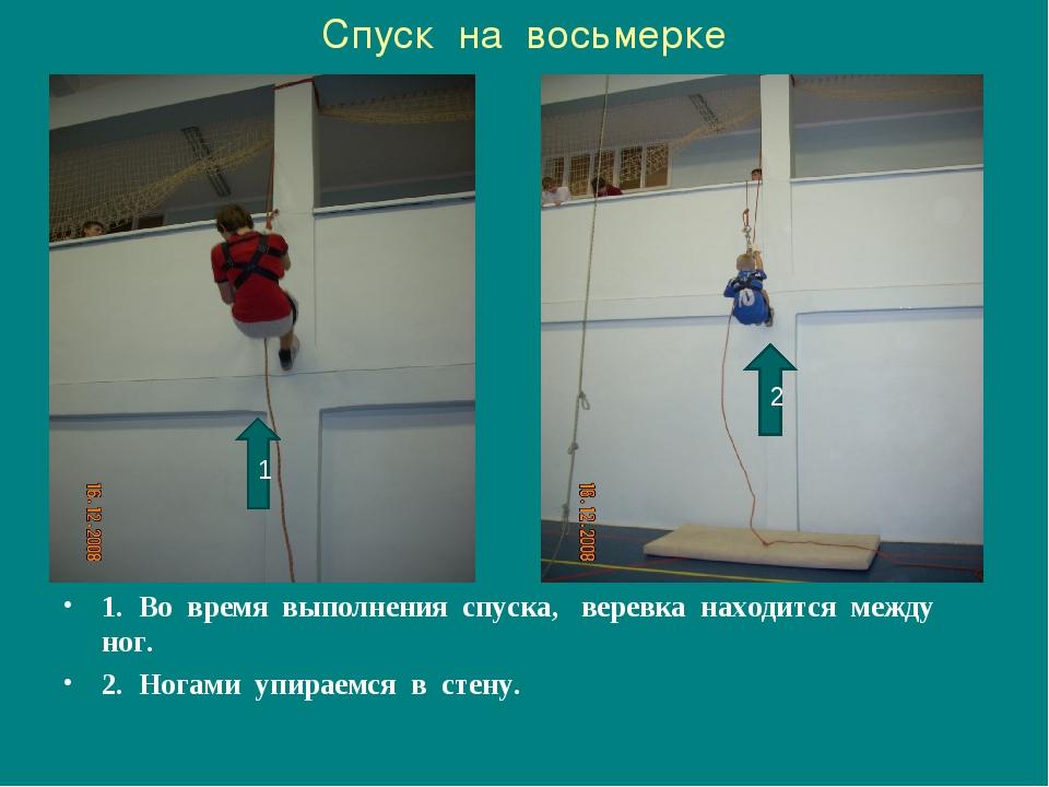 Спуск на восьмерке 1. Во время выполнения спуска, веревка находится между ног...