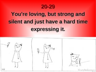 20-29 You're loving, but strong and silent and just have a hard time expressi