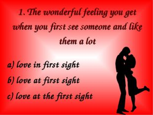 1. The wonderful feeling you get when you first see someone and like them a l