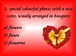 2. special colourful plants with a nice scent, usually arranged in bouquets a