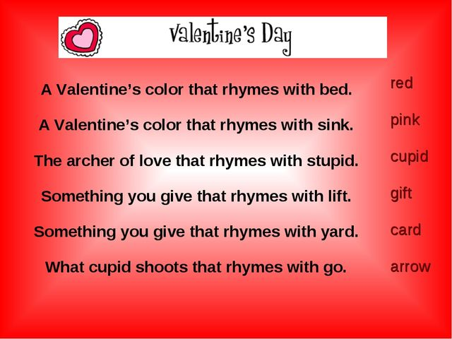 A Valentine's color that rhymes with bed. A Valentine's color that rhymes wi...