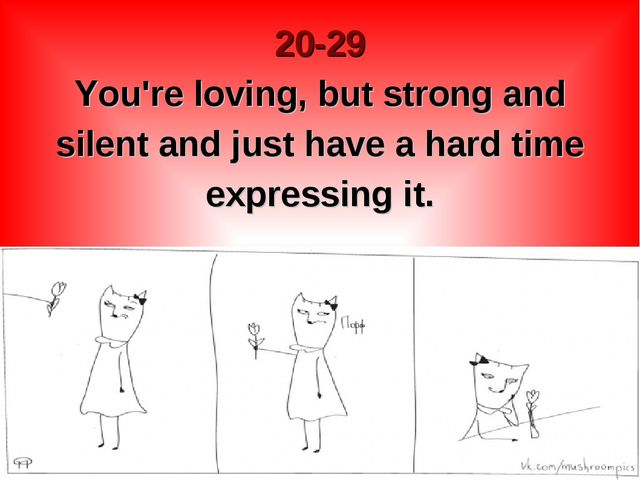 20-29 You're loving, but strong and silent and just have a hard time expressi...