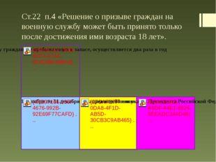 Ст.22 п.4 «Решение о призыве граждан на военную службу может быть принято тол
