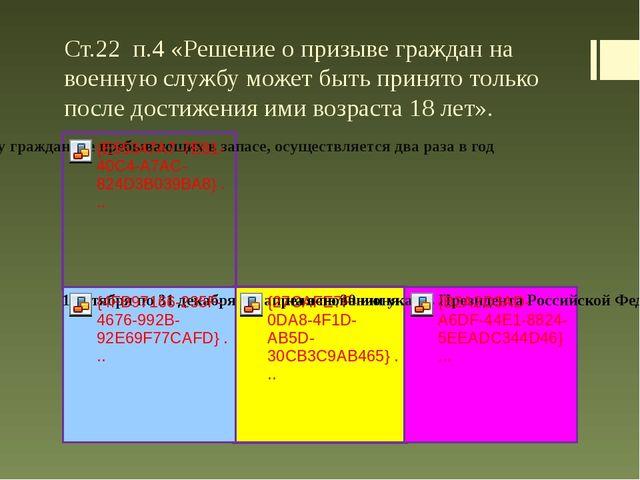 Ст.22 п.4 «Решение о призыве граждан на военную службу может быть принято тол...