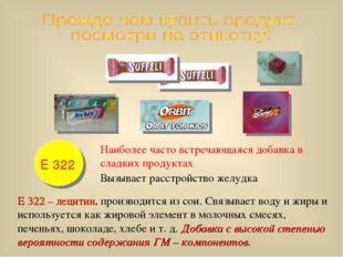 Е 322 Наиболее часто встречающаяся добавка в сладких продуктах Вызывает расст