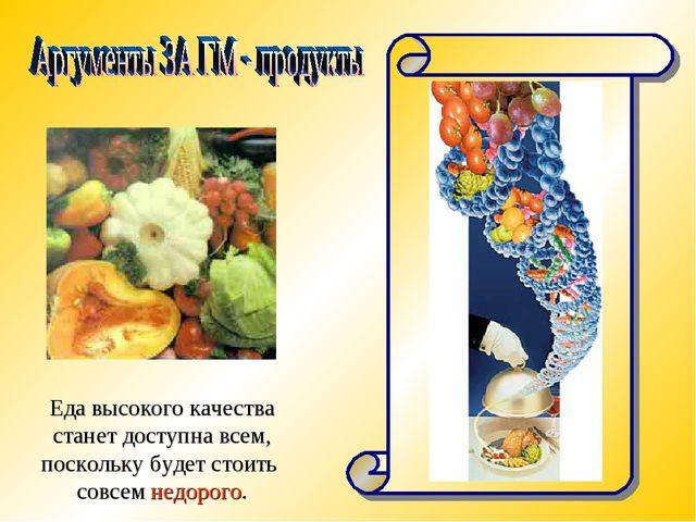 Еда высокого качества станет доступна всем, поскольку будет стоить совсем нед...