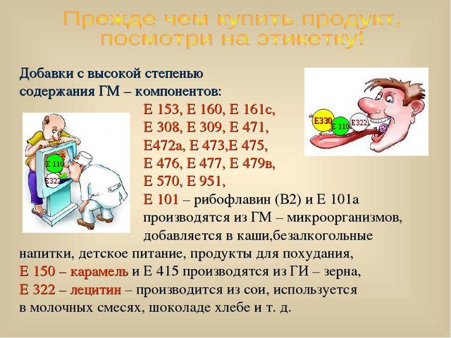 Добавки с высокой степенью содержания ГМ – компонентов: Е 153, Е 160, Е 161с,...