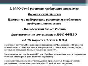 5. МФО Фонд развития предпринимательства Воронежской области Программа поддер