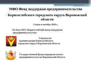 МФО Фонд поддержки предпринимательства Борисоглебского городского округа Воро