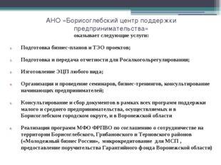 АНО «Борисоглебский центр поддержки предпринимательства» оказывает следующие