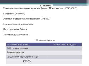 1. Резюме. Планируемая организационно-правовая форма (ИП или юр. лицо (ООО, О