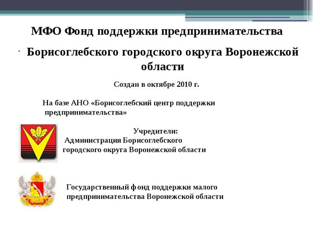 МФО Фонд поддержки предпринимательства Борисоглебского городского округа Воро...