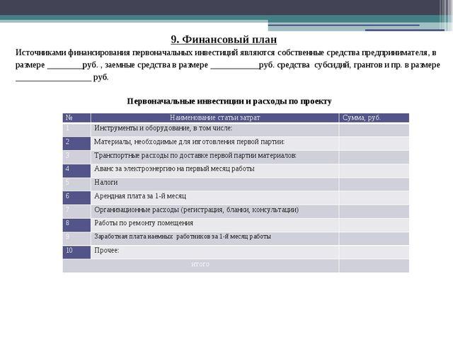 9. Финансовый план Источниками финансирования первоначальных инвестиций являю...