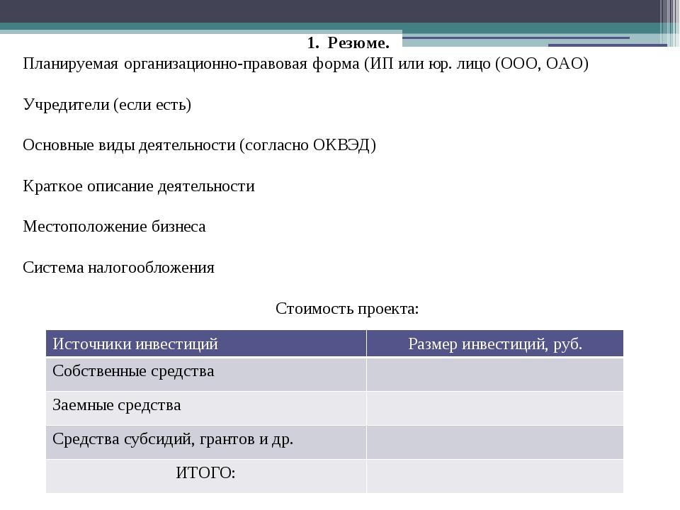 1. Резюме. Планируемая организационно-правовая форма (ИП или юр. лицо (ООО, О...