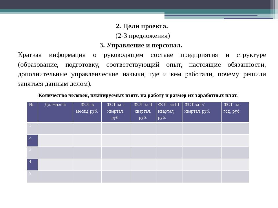 2. Цели проекта. (2-3 предложения) 3. Управление и персонал. Краткая информац...