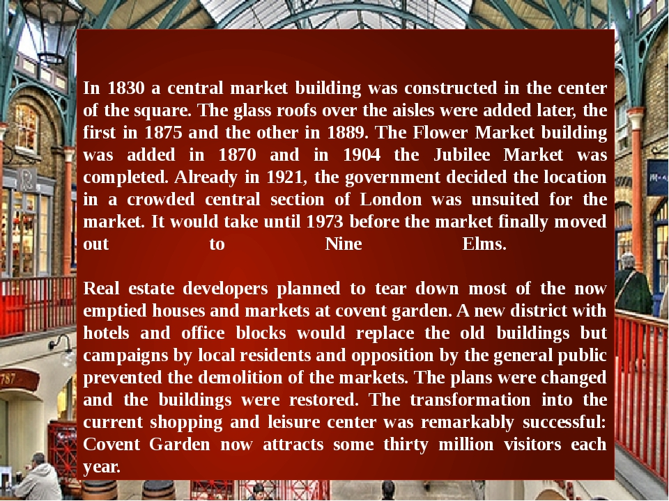 In 1830 a central market building was constructed in the center of the squar...