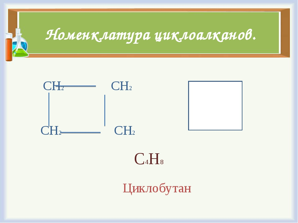 Номенклатура циклоалканов. СН2 СН2 СН2 СН2 С4Н8 Циклобутан