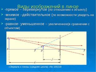 Виды изображений в линзе -прямое – перевернутое (по отношению к объекту) -мни