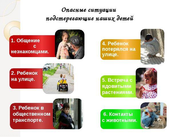 Опасные ситуации подстерегающие наших детей 1. Общение с незнакомцами. 2. Реб...