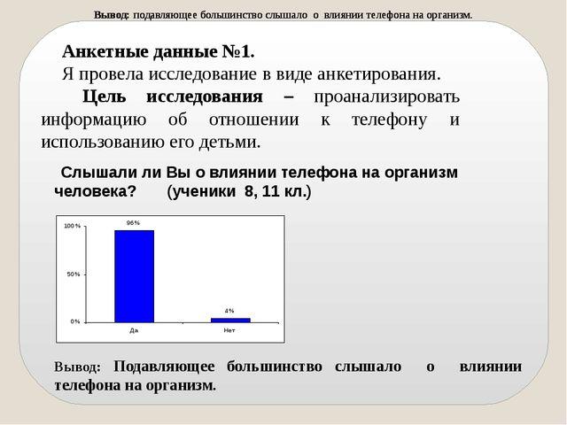 Анкетные данные №1. Я провела исследование в виде анкетирования. Цель исследо...