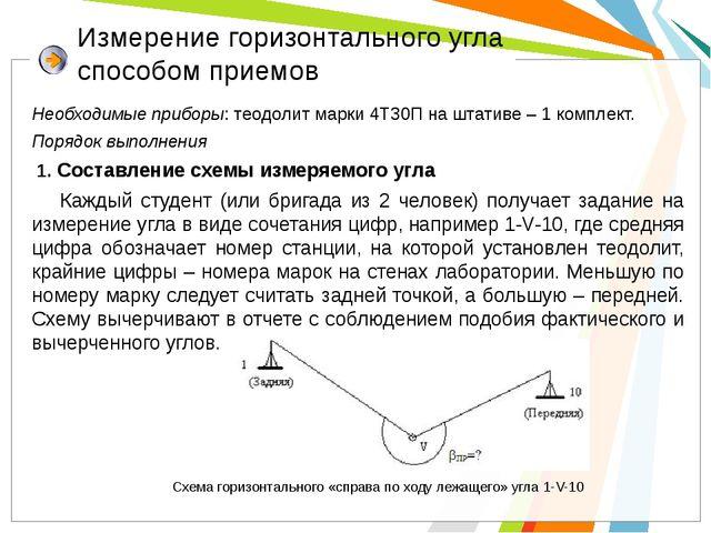 Измерение горизонтального угла способом приемов Необходимые приборы: теодолит...