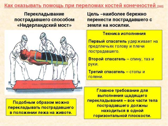 Как оказывать помощь при переломах костей конечностей (360) Перекладывание по...