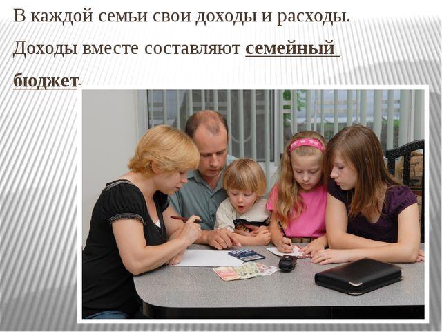 В каждой семьи свои доходы и расходы. Доходы вместе составляют семейный бюджет.