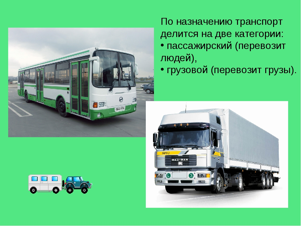 По назначению транспорт делится на две категории: пассажирский (перевозит люд...